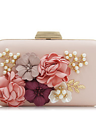 cheap -Women's Rhinestone / Petal / Satin Flower Polyester Evening Bag Black / White / Blushing Pink