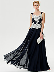 cheap -A-Line Mother of the Bride Dress Color Block Open Back Straps Floor Length Chiffon Corded Lace Sleeveless with Crystals Appliques 2021