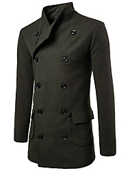 cheap -Men's Daily Fall / Winter Long Trench Coat, Solid Colored Shirt Collar Long Sleeve Cotton / Polyester Black / Army Green