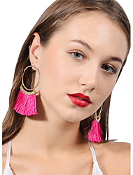 cheap -Women's Tassel Bohemian Fashion Earrings Jewelry Black / Fuchsia / Red For Party Daily Street Going out Club