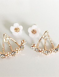 cheap -Women's Crystal Stud Earrings Jacket Earrings Flower Floral / Botanicals Heart Flower Ladies Personalized Basic Natural Simple Style Fashion Rhinestone Silver Plated Gold Plated Earrings Jewelry Gold