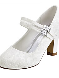 cheap -Women's Wedding Shoes Chunky Heel Round Toe Crystal Elastic Fabric Basic Pump Spring / Fall White / Ivory / Party & Evening / EU41