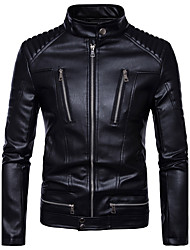 cheap -Men's Daily Basic Fall / Winter Plus Size Regular Leather Jacket, Solid Colored Stand Long Sleeve PU Black / Slim