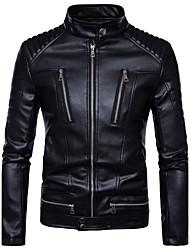 abordables -Homme Quotidien Basique Automne / Hiver Grandes Tailles Normal Veste de cuir, Couleur Pleine Mao Manches Longues Polyuréthane Noir / Mince