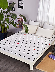 cheap -Fitted Sheet - Poly / Cotton Printed Creative 1pc Flat Sheet / 2pcs Pillowcases