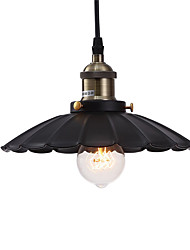 cheap -1-Light Vintage Pendant Lights Loft Black Metal Shade Dining Room Pendant Lights Kitchen Bar Light Fixture