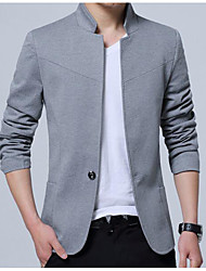 cheap -Men's Daily Business / Simple / Casual Spring / Fall Plus Size Regular Blazer, Solid Colored Stand Long Sleeve Cotton / Polyester Gray / Wine / Royal Blue / Business Casual / Slim