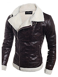 cheap -Men's Daily / Weekend Fall / Winter Regular Leather Jacket, Solid Colored Black & White V Neck Long Sleeve PU Black / Light Brown / Slim