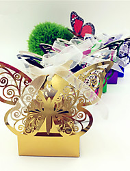 cheap -Round / Square Card Paper Favor Holder with Ribbons / Printing Favor Boxes - 50