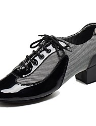 cheap -Men's Latin Shoes / Ballroom Shoes Leatherette / PU Lace-up Heel Customized Heel Customizable Dance Shoes Black / White / Red / Indoor / EU39