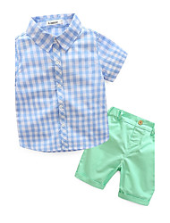 cheap -Toddler Boys' Check Other Short Sleeve Regular Cotton Clothing Set Blue