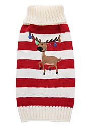 cheap -Dog Coat Sweater Puppy Clothes Reindeer Fashion Holiday Casual / Daily Wedding Christmas Outdoor Winter Dog Clothes Puppy Clothes Dog Outfits Red Green Costume for Girl and Boy Dog Acrylic Fibers XS