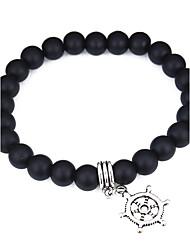 cheap -Women's Onyx Bead Bracelet Beaded Anchor Fashion Alloy Bracelet Jewelry White / Black For Daily