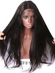 cheap -Human Hair Unprocessed Human Hair Lace Front Wig style Brazilian Hair Straight Yaki Wig 150% Density 10-26 inch with Baby Hair Natural Hairline African American Wig 100% Hand Tied Women's Short