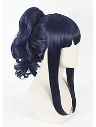 cheap -Synthetic Wig Ponytails Wig Short Blue Synthetic Hair Faux Locs Wig Blue