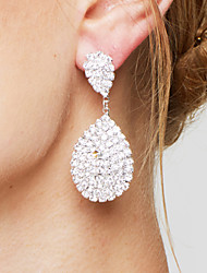 cheap -Women's Clear Synthetic Diamond Drop Earrings Pear Cut Pave Drop Ladies Luxury Elegant Bridal Bling Bling Silver Plated Earrings Jewelry White For Wedding Party Anniversary Gift Daily Masquerade