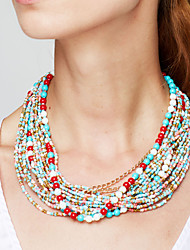cheap -Women's Statement Necklace Beaded Necklace Twisted Ladies Bohemian European Fashion Resin Plastic Alloy Red Blue Rainbow Necklace Jewelry For Party Special Occasion Daily Casual