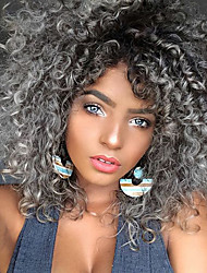 cheap -Synthetic Wig Curly Kinky Curly Kinky Curly Curly Wig Medium Length Black / Grey Synthetic Hair Women's Heat Resistant Ombre Hair Gray