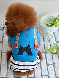 cheap -Dog Hoodie Dog Clothes Stripes Blue Cotton Costume For Winter Men's Women's Casual / Daily