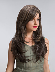 cheap -Synthetic Wig Cosplay Wig Straight Straight Wig Long Brown Synthetic Hair Women's Highlighted / Balayage Hair Brown MAYSU