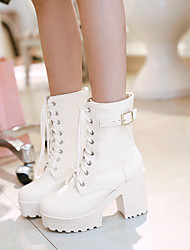 cheap -Women's Boots Block Heel Boots Block Heel Round Toe Booties Ankle Boots Comfort Daily PU Buckle Lace-up Solid Colored White Black Brown