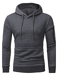 cheap -Men's Sports Active Long Sleeve Hoodie - Solid Colored Print Hooded Black XL / Spring / Fall / Winter