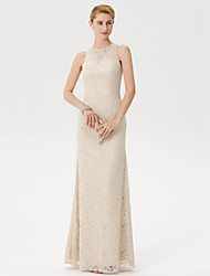 cheap -Sheath / Column Mother of the Bride Dress Elegant See Through Illusion Neck Floor Length Lace Sleeveless with Crystals Beading 2020