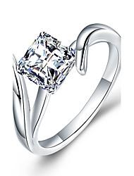 cheap -Women's Band Ring wrap ring Diamond Cubic Zirconia Synthetic Diamond White Sterling Silver Zircon Rhinestone Geometric Ladies Luxury Classic Christmas Wedding Jewelry Solitaire Simulated Knife Edge