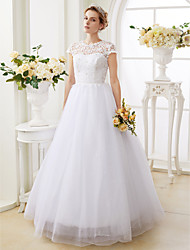 cheap -Ball Gown Jewel Neck Floor Length Lace Over Tulle Cap Sleeve Sparkle & Shine Made-To-Measure Wedding Dresses with Beading 2020
