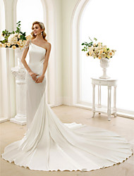 cheap -Mermaid / Trumpet One Shoulder Cathedral Train Stretch Satin Regular Straps Simple Illusion Detail Made-To-Measure Wedding Dresses with Crystal / Beading 2020