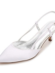 cheap -Women's Wedding Shoes Kitten Heel / Cone Heel / Low Heel Pointed Toe Rhinestone / Sparkling Glitter / Hollow-out Satin Comfort / Basic Pump / Ankle Strap Spring / Summer White / Purple / Champagne