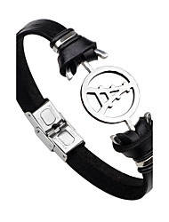 cheap -Men's Women's Leather Bracelet Tower Eiffel Tower Personalized Simple Style Fashion Stainless Steel Bracelet Jewelry Black / Brown For Daily Casual Stage Club