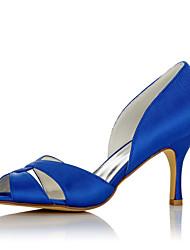 cheap -Women's Sandals Stiletto Heel Open Toe Satin Comfort Summer / Fall Blue / Wedding / Party & Evening / EU39