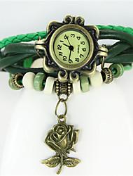 Недорогие -Жен. Модные часы Кварцевый Кожа Группа Черный Белый Синий Красный Оранжевый Коричневый Зеленый Розовый Фиолетовый Желтый Темно-синий
