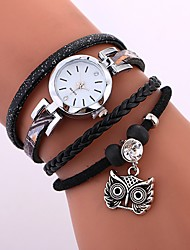 cheap -Women's Bracelet Watch Wrap Bracelet Watch Quartz Quilted PU Leather Black / White / Blue Water Resistant / Waterproof Creative Analog Ladies Casual Fashion Elegant - Black Blue Khaki