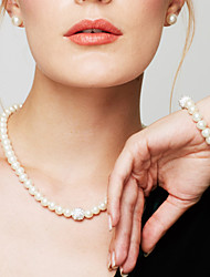cheap -Women's Pearl Chain Bracelet Beaded Necklace Ladies Elegant Fashion Bridal Pearl Imitation Diamond White Necklace Jewelry For Wedding Party Daily Casual Masquerade Engagement Party / Pearl Necklace