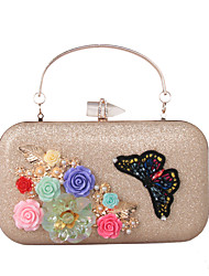 cheap -Women's Bags leatherette Evening Bag Rhinestone Petal Satin Flower Wedding Party Event / Party Black Blue Purple Red