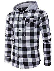 cheap -Men's Classic & Timeless Long Sleeve Slim Hoodie - Plaid Print Hooded Black L / Spring / Fall
