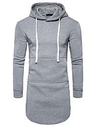 cheap -Men's Basic Long Sleeve Slim Hoodie - Solid Colored Hooded Dark Gray L / Fall / Winter
