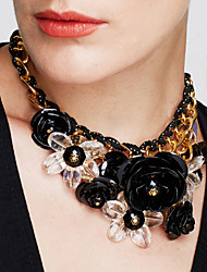 cheap -Women's Crystal Pendant Necklace Plaited Wrap Flower Statement Ladies Vintage European Synthetic Gemstones Crystal Resin White Black Purple Dark Red Blue Necklace Jewelry For Party Special Occasion