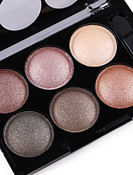 cheap -6 Colors Eyeshadow Palette Powders Matte Shimmer Men Women Lady Matte Shimmer Alcohol Free Ammonia Free Formaldehyde Free Glitter Shine smoky Breathable Natural Beauty Daily Makeup Halloween Makeup