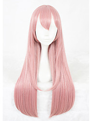 cheap -Synthetic Wig Straight Straight Wig Pink Long Pink Synthetic Hair Faux Locs Wig Pink