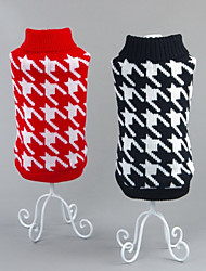 cheap -Cat Dog Sweater Winter Dog Clothes Black Red Costume Cotton Geometic Casual / Daily New Year's XS S M L XL XXL
