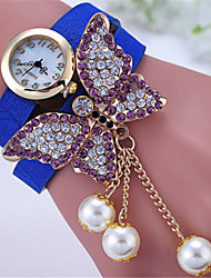 Недорогие -Жен. Модные часы Кварцевый Кожа Группа Черный Белый Синий Красный Оранжевый Фиолетовый