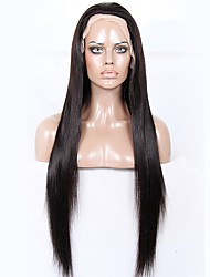 cheap -Remy Human Hair Unprocessed Human Hair Glueless Full Lace Full Lace Wig style Brazilian Hair Straight Yaki Wig 130% 150% 180% Density with Baby Hair Natural Hairline African American Wig 100% Hand