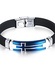 cheap -Men's Bracelet Personalized Simple Style Fashion Hip-Hop Silica Gel Bracelet Jewelry Black / Blue For Birthday Gift Daily Casual Street / Titanium Steel