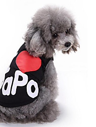 cheap -Dog Vest Dog Clothes Letter & Number Black Gray Cotton Costume For Spring &  Fall Summer Men's Women's Casual / Daily