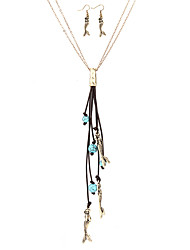 cheap -Women's Drop Earrings Pendant Necklace Tassel Long Ladies Luxury Bohemian Punk Gothic Hip-Hop Turquoise Earrings Jewelry Gold / Silver For Party Graduation Stage School Holiday Work
