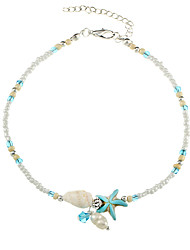 cheap -Women's Anklet Beads Flower Star Starfish Statement Ladies Boho everyday Gray Pearl Anklet Jewelry Light Blue / Screen Color For Casual Going out Bikini