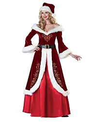 cheap -Mrs.Claus Dress Costume Santa Clothes Adults' Women's Christmas New Year Masquerade Festival / Holiday Elastane Lycra Spandex Red Women's Carnival Costumes Vintage / Hat / Waist Belt / Velvet / Hat